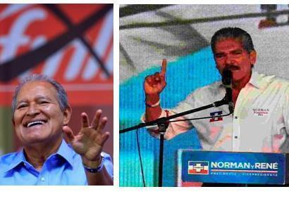 Salvador Sánchez Cerén (FMLN) a la izquierda, es el favorito en El Salvador. Norman Quijano, de Arena, le sigue de cerca con un 32% de los votos según una última encuesta.