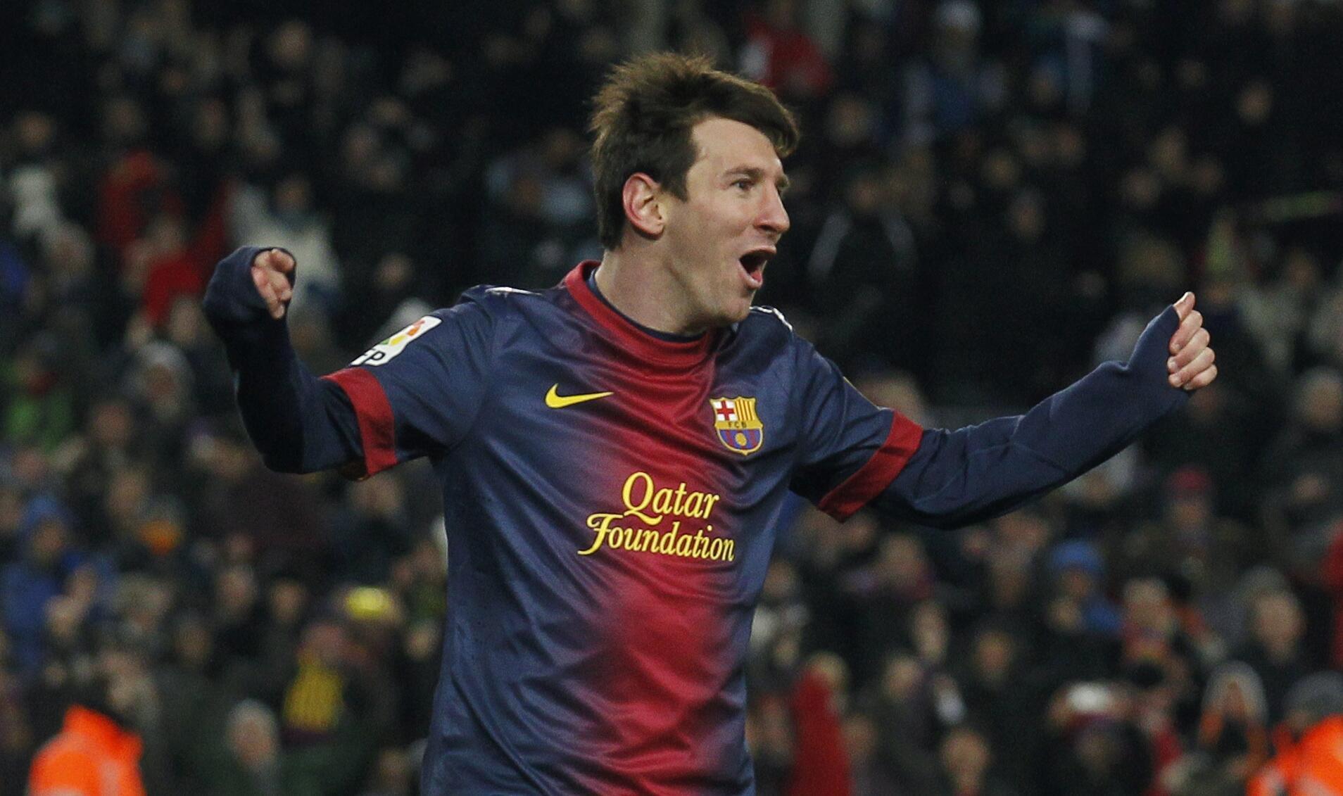 Lionel Messi, mchezaji wa Barcelona aliyepachika mabao mawili katika mechi dhidi ya AC Milan
