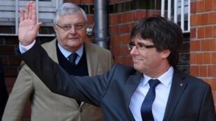 Карлес Пучдемон после выхода из тюрьмы в Германии.