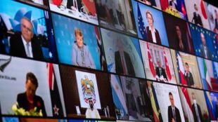 Los líderes mundiales que participan en la cumbre virtual del clima, el 22 de abril de 2021