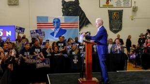 Joe Biden lors d'un meeting de campagne dans une école de Las Vegas le 21 février 2020.