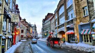 La vieille ville de Quebec au Canada pendant la période de Noël.