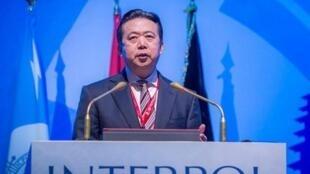 图为国际刑警组织主席,中国公安部副部长孟宏伟会议照