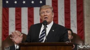 Donald Trump durante seu discurso no Congresso americano na terça-feira, 28 de fevereiro de 2017.