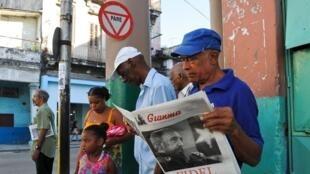 La noticia de la muerte de Fidel Castro en el diario Granma (La Habana).