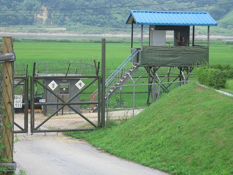 (Ảnh minh họa) - Một trạm canh gác biên giới liên Triều, bên Hàn Quốc, tại khu vực phi quân sự Bàn Môn Điếm.