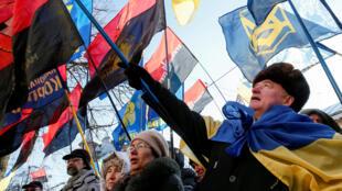 烏克蘭自由黨在波蘭駐基輔使館門口抗議