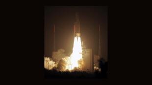 La fusée européenne Ariane 5-VA205 est partie de Kourou pour l'ISS avec l'ATV-3, le 23 mars 2012.