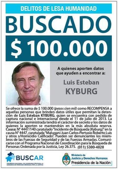 """El cartel de """"Se busca"""" de Luis Esteban Kyburg emitido por las auroridades argentinas."""