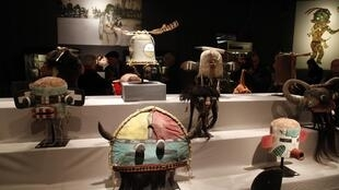 Hopi masks displayed before the auction in Paris, 11 April, 2013
