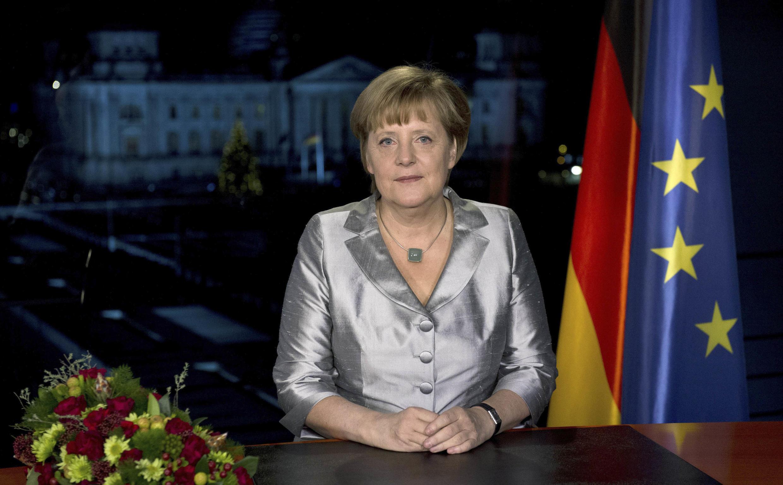 A chanceler alemã, Angela Merkel, em pronunciamento na televisão.