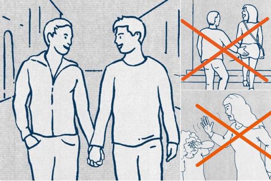 Algunas de las ilustraciones de la guía para refugiados.