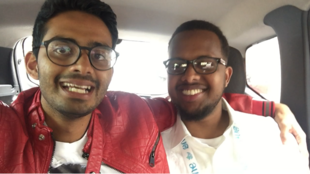 Tech innovators Shivad Singh (L) and Abdi Addow (R) teaming up at Bogota's One Young World summit