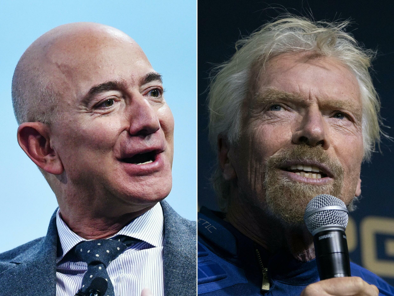 El fundador de Blue Origin, Jeff Bezos (izquierda), y el fundador de Virgin Galactic, Richard Branson