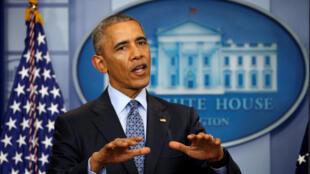 آخرین کنفرانس مطبوعاتی باراک اوباما بعنوان رئیس جمهوری آمریکا، در کاخ سفید در واشنگتن. ۲۹ دی/  ١٨ ژانویه ٢٠۱٧