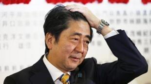 Shinzo Abe au siège du PLD, à Tokyo, le 14 décembre 2014.