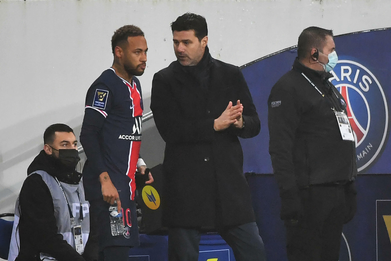 PSG coach Mauricio Pochettino with Neymar last season