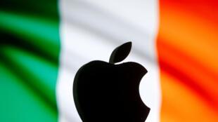 Logo Apple impreso sobre la bandera irlandesa