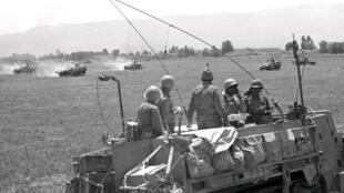 Soldats israéliens dans le Golan pendant la Guerre des Six jours.