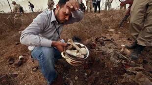 Un hombre recoge huesos en lo que el CNT presentó como la fosa común de las víctimas de la prisión de Abu Salim.