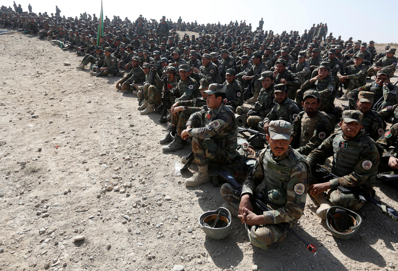 Ici, des militaires de l'armée nationale afghane, lors d'un entraînement à Kaboul, le 17 octobre 2017.