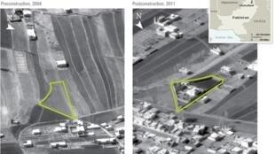 Images satellites de la maison où se cachait ben Laden au Pakistan. En 2004, avant sa construction, puis en 2011.