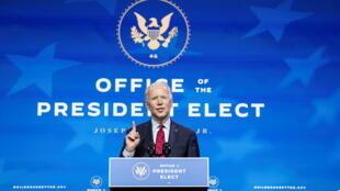 Le président élu des États-Unis, Joe Biden, à Wilmington, Delaware, États-Unis, le 8 Décembre 2020.