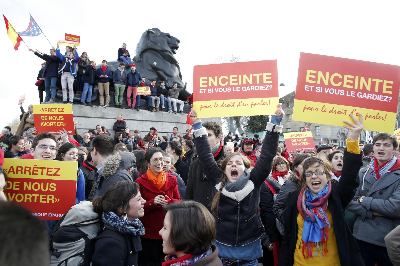 La «Marche pour la Vie»  a rassemblé des milliers de manifestants anti-IVG à Paris le 19 janvier 2014.