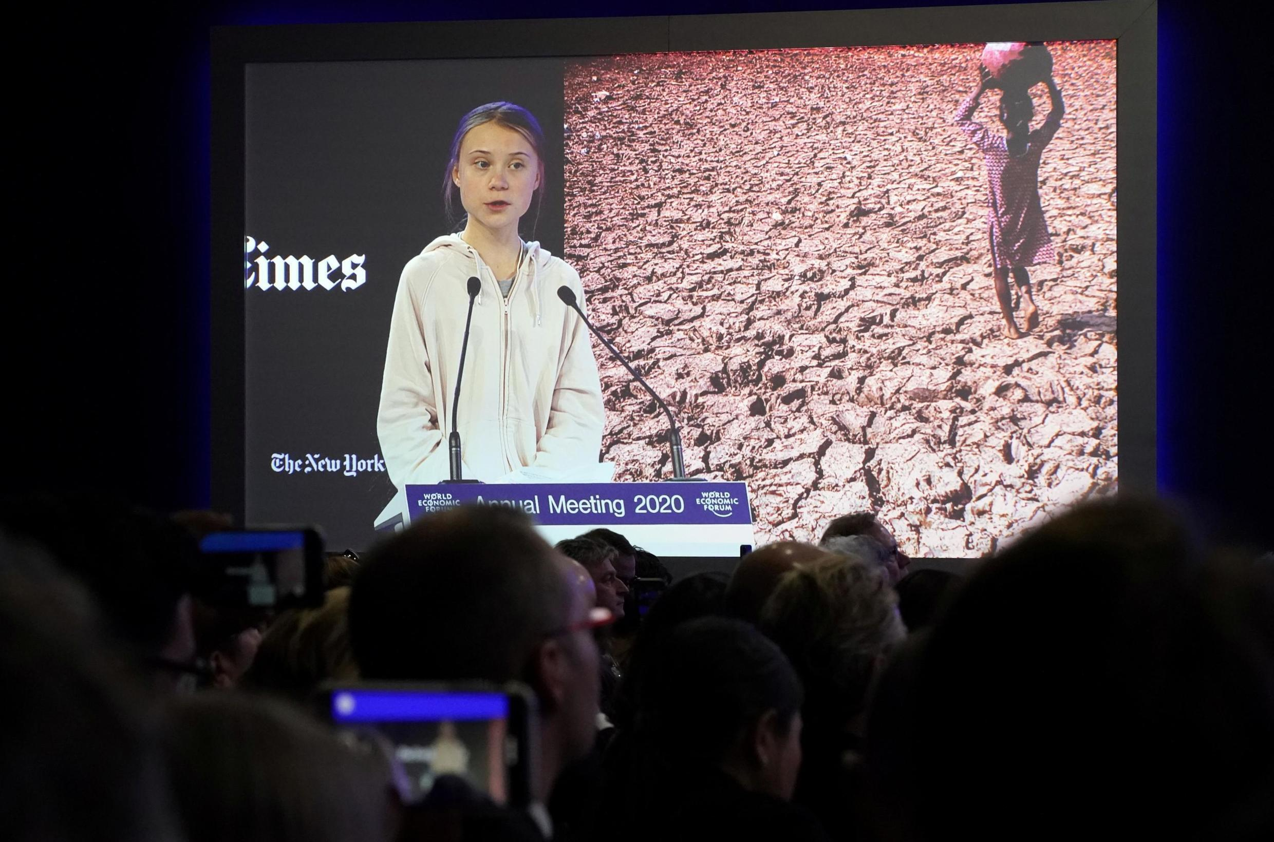 Swedish climate change activist Greta Thunberg speaks during a session at the 50th World Economic Forum (WEF) annual meeting in Davos, Switzerland, January 21, 2020.