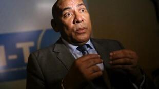 Jean-Omer Beriziky en décembre 2013 lors d'une conférence de presse alors qu'il était encore Premier ministre de Madagascar.