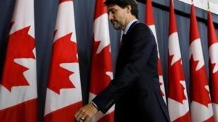 Thủ tướng Canada, Justin Trudeau trong một buổi họp báo ở Ottawa, ngày 17/01/2020.