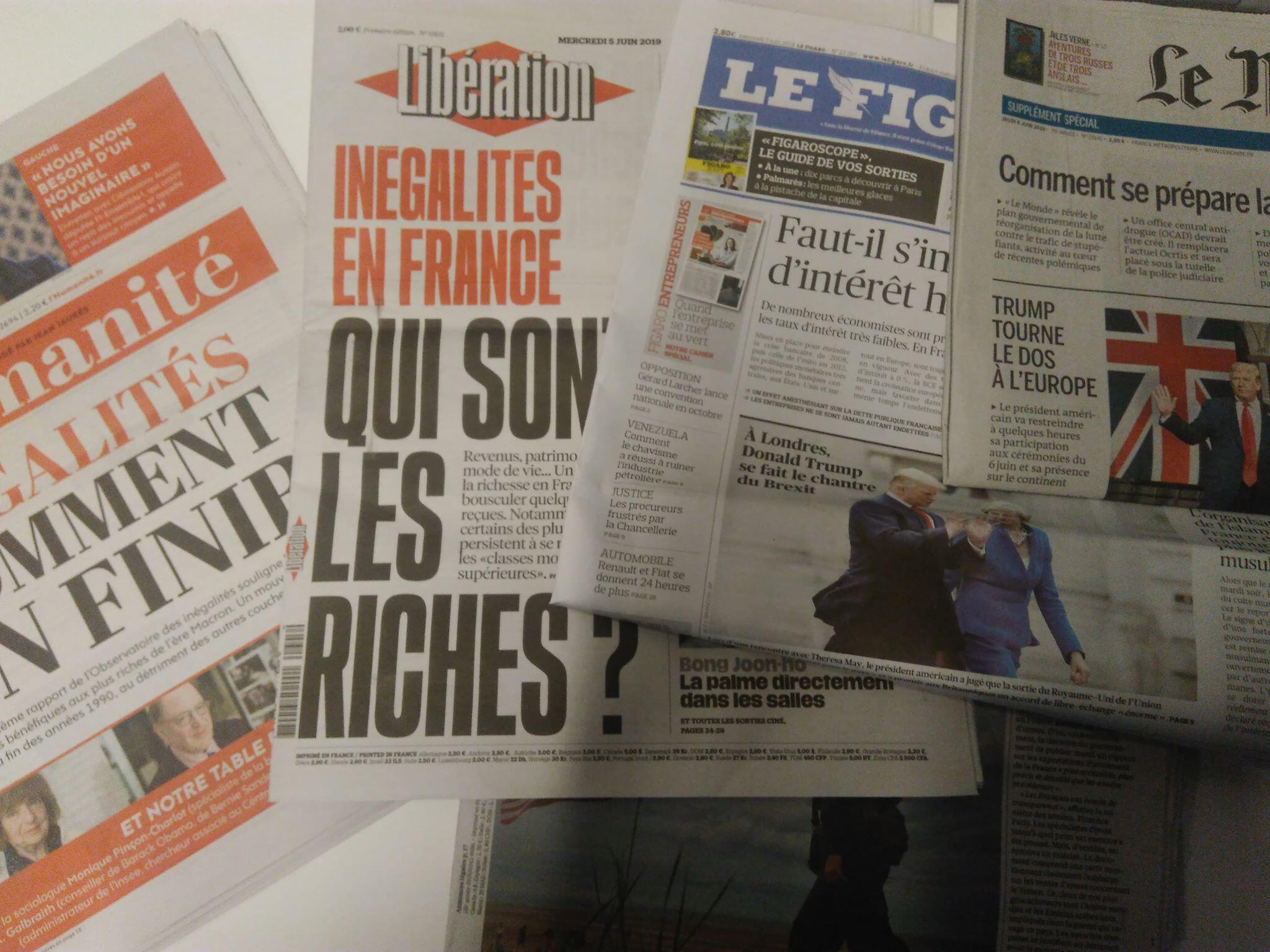 Imprensa francesa desta Quarta-feira 5 de Junho de 2019.