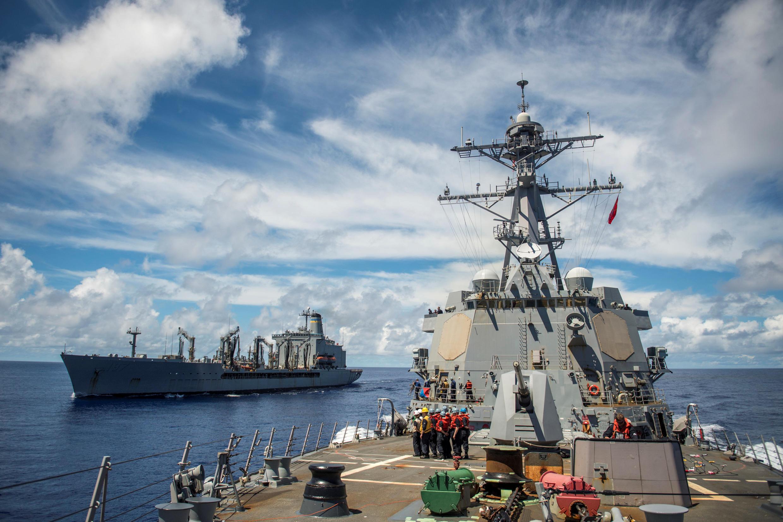 Chiến hạm USS Chafee (P) trên Thái Bình Dương. Ảnh ngày 20/09/2017.