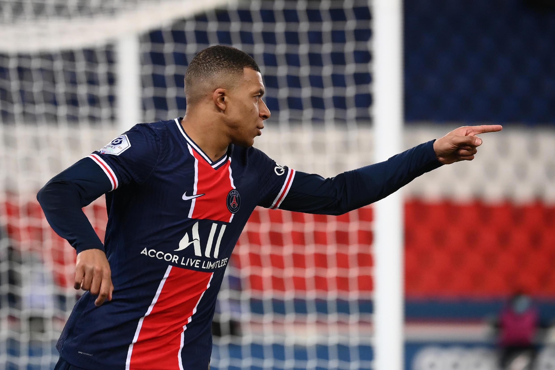 L'attaquant du Paris Saint-Germain, Kylian Mbappé, auteur d'un doublé face à Montpellier, lors de leur match de L1, le 22 janvier 2021 au Parc des Princes