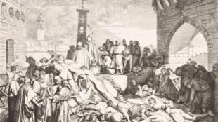 La peste de 1348 à Florence, gravure d'après un tableau de Luigi Sabatelli (1772-1850).
