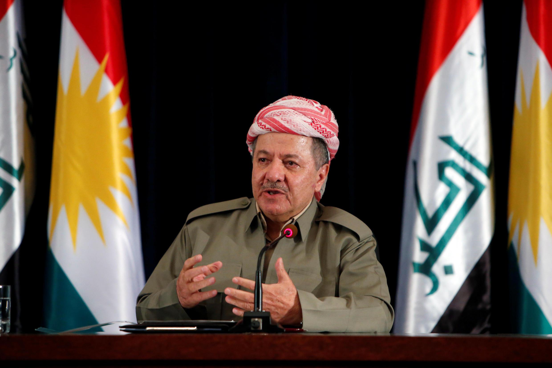 Massoud Barzani, président du gouvernement régional du Kurdistan, lors d'une conférence de presse à Erbil, le dimanche 24 septembre 2017.