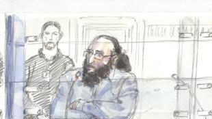 Un croquis de la cour d'assises de Paris, où l'on voit Abdelkader Merah parler pendant son procès, à Paris, le 20 octobre 2017.
