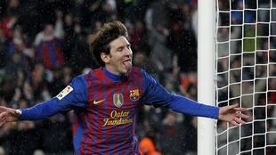 Lionel Messi, do Barcelona, comemora gol em cima do Granada.
