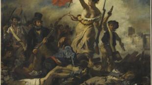 «La Liberté guidant le peuple» d'Eugène Delacroix, le 28 juillet 1830. Salon de 1831. Huile sur toile, 260 x 325 cm, exposée au Musée du Louvre.