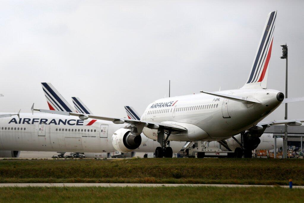 Air France planes parked on the tarmac at the Charles de Gaulle International Airport in Roissy