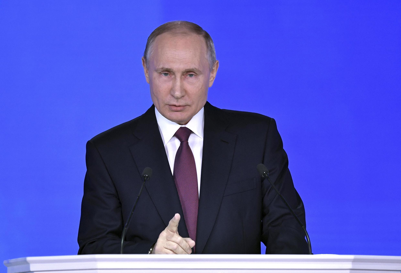 Владимир Путин выступил с обращением к Федеральному собранию, 1 марта 2018.