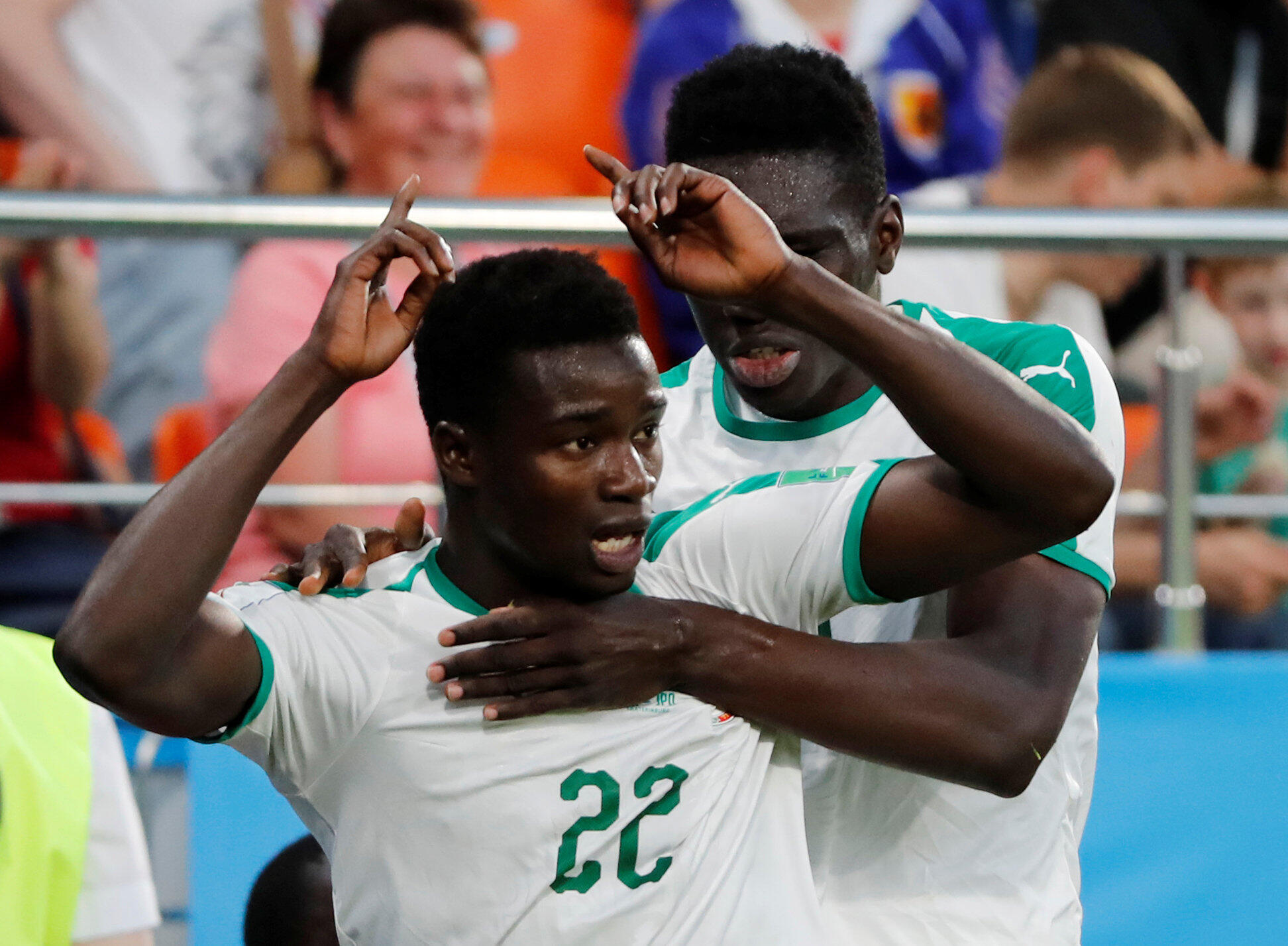 Le Sénégalais Moussa Wagué, buteur face au Japon, lors de la Coupe du monde 2018.