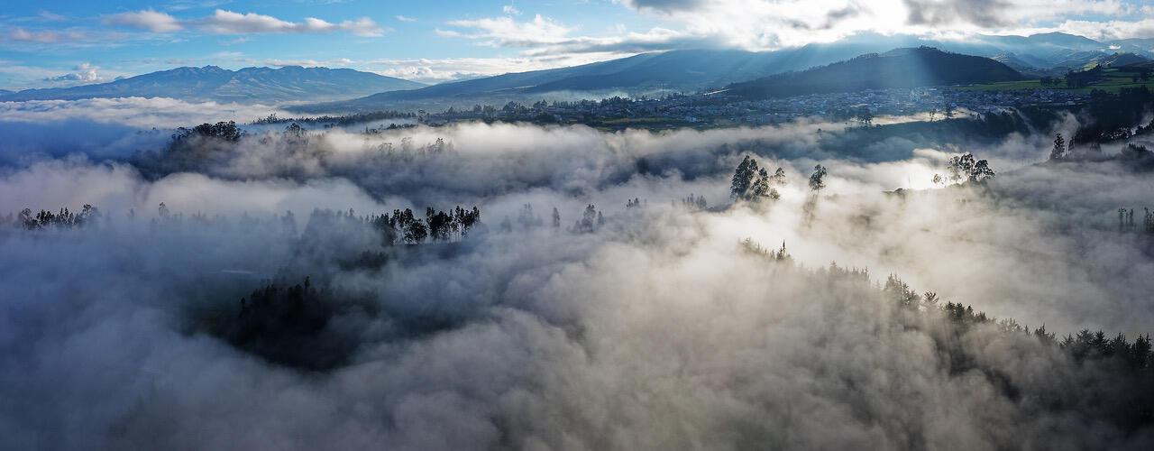Imagen tomada desde un dron por Pablo Corral Vega durante su confinamiento a cincuenta kilómetros de Quito