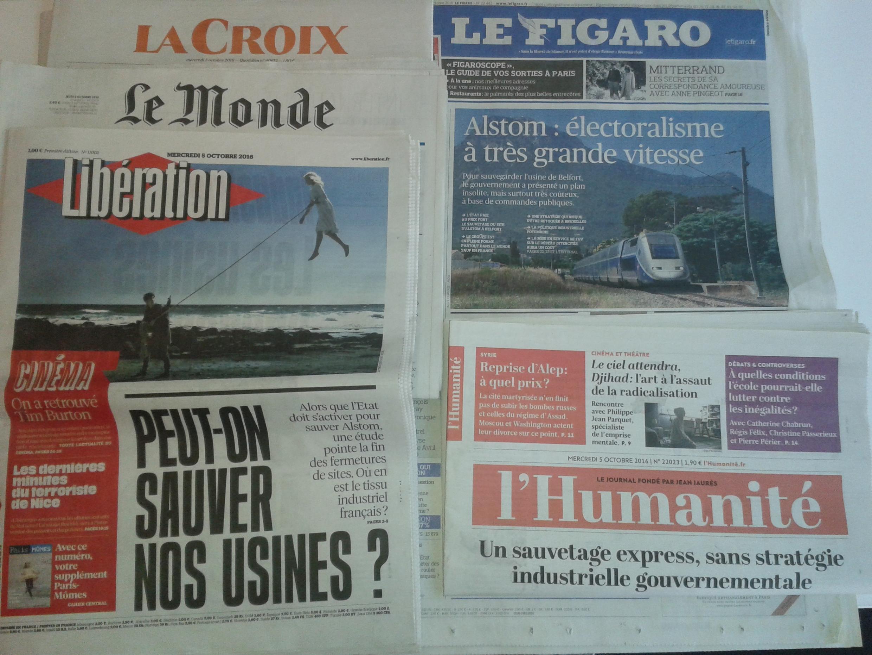 Os jornais franceses desta quarta-feira, dia 5 de Outubro.