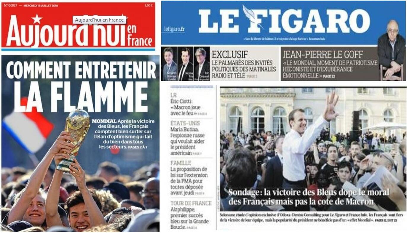 Popularidade em baixa do presidente Emmanuel Macron, mesmo com vitória na Copa do Mundo é o destaque da imprensa francesa desta quarta-feira, 18 de julho de 2018