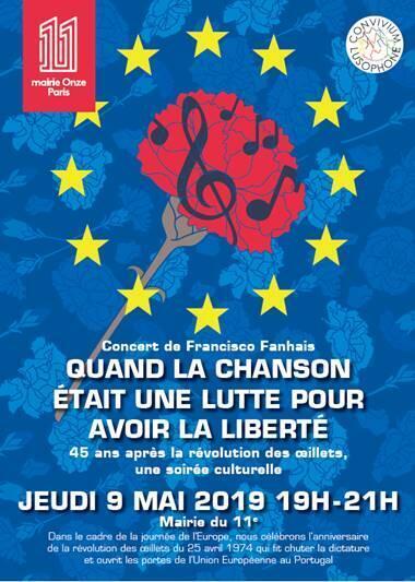 Cartaz do concerto de Francisco Fanhais em Paris, a 9 de Maio de 2019.