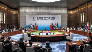 Reunião de negociações durante a 9ª Cúpula dos Brics em Xiamen, na China.