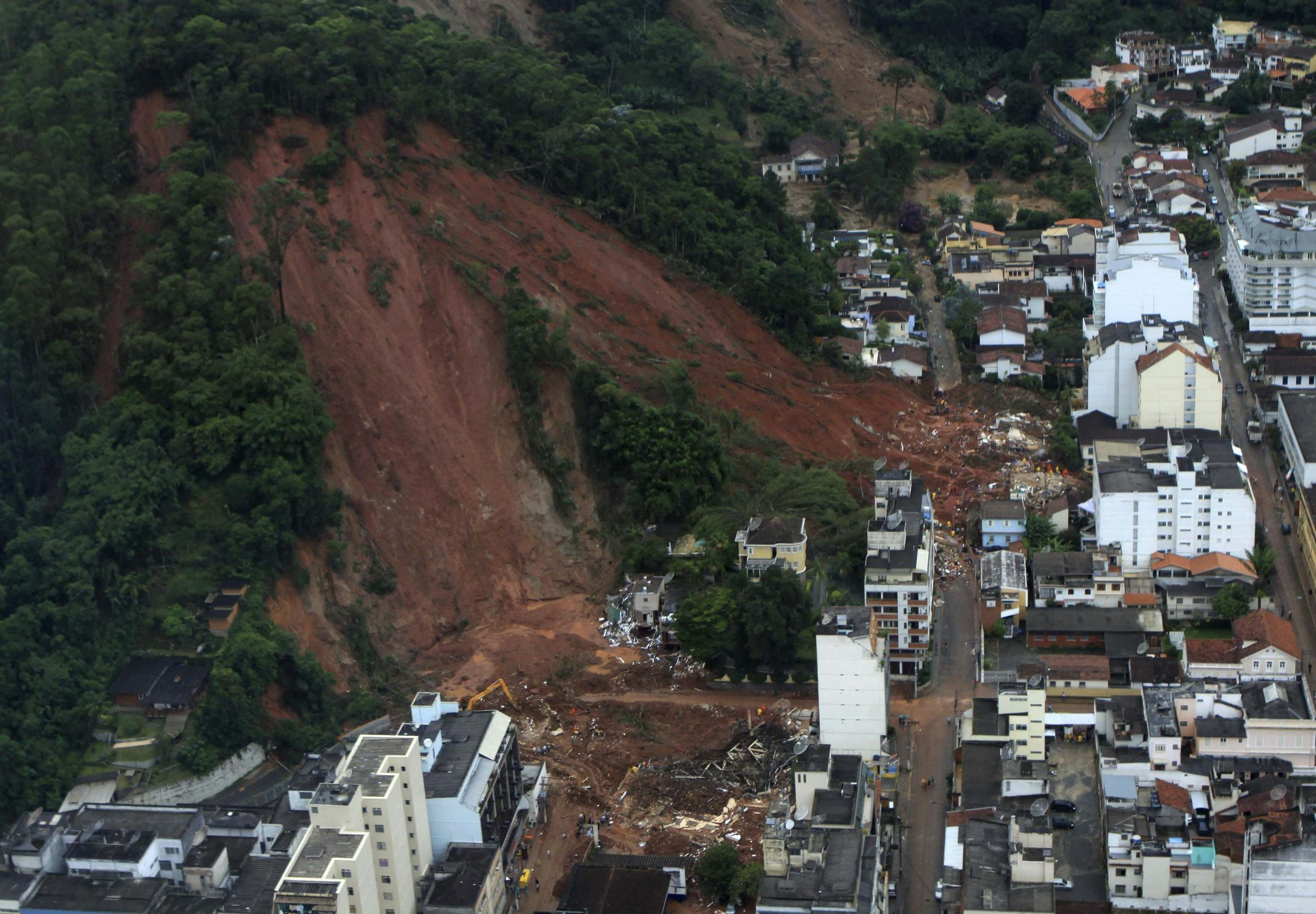 An aerial view of a neighborhood partially destroyed by a landslide caused by heavy rains in Nova Friburgo