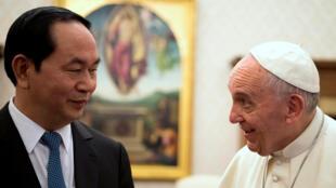 圖為梵蒂岡教皇方濟各會見到訪的越南主席成大光
