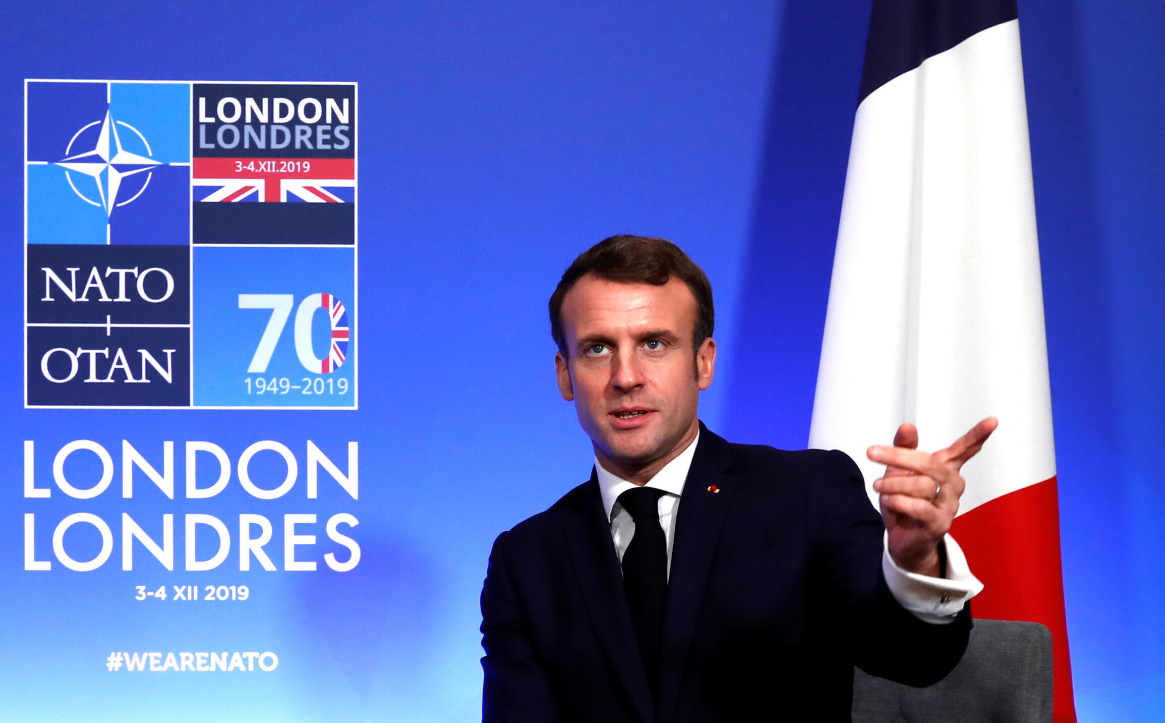 Emmanuel Macron au sommet de l'Otan, le 4 décembre 2019.